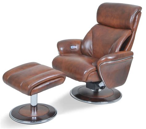 ergonomic leather saddle reclining chair ottoman from