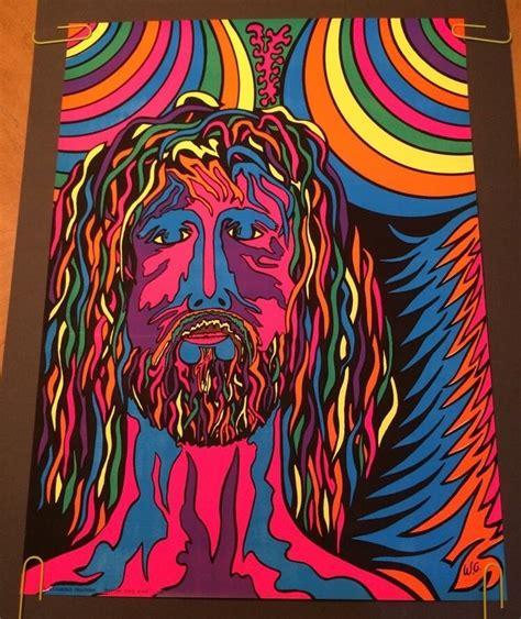 Vintage Blacklight Poster Psychedelic Jesus Hairy Hippy