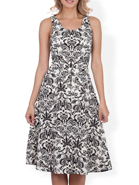 closet damask print scuba midi dress in black lyst