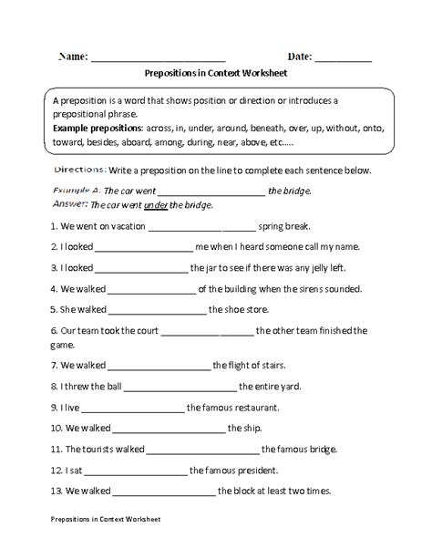 preposition worksheets for grade 6 with answers englishlinx prepositions worksheets