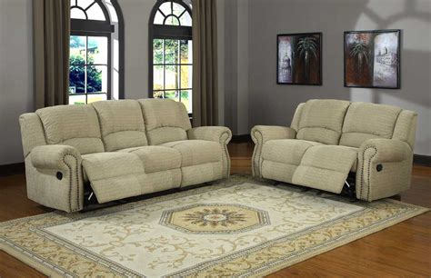 Beige Micro Suede Love Seat And Sofa Set With Recliner And