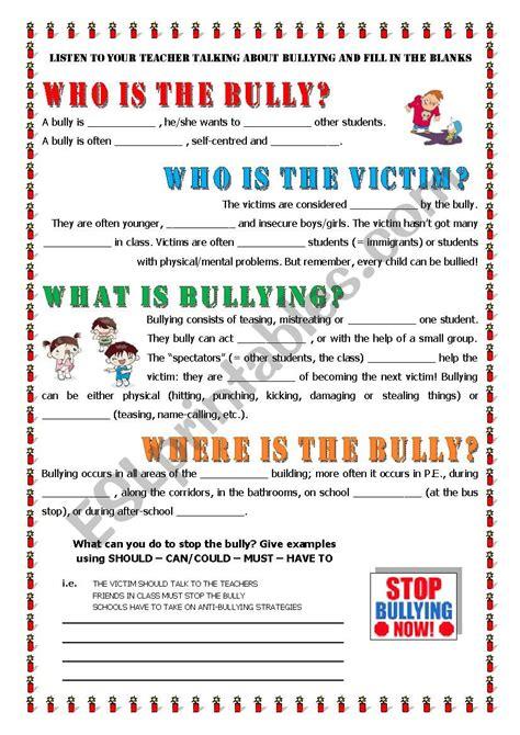 key informaton about bullying esl worksheet by alex076