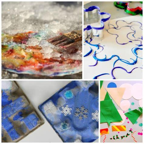 winter process art      paper  glue