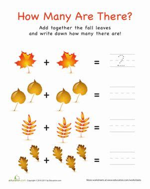 addition  pictures leaves preschool math
