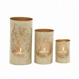 leaf patterned set of three metal candle holder With kitchen cabinets lowes with paper flower candle holder