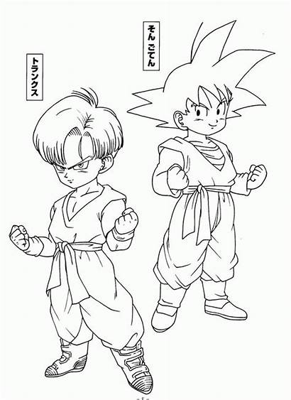 Trunks Dragon Gohan Ball Goku Coloring Coloriage