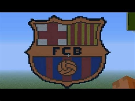 pixel art en minecraft escudo del fc barcelona hd youtube