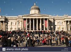 National Gallery and Trafalgar Square with Albanian flag