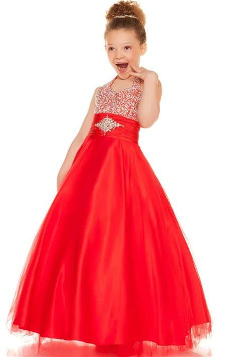 Ball Halter Red Tulle Beaded Little Flower Girl Party Prom Dress