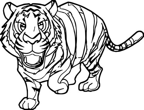 Rainforest Cute Tiger Coloring Page