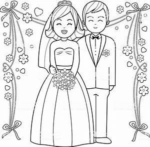 Bride And Groom Coloring Book Page Stock Vector Art U0026 More
