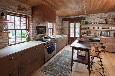 cuisine brique mur briques exposées dans la cuisine une très idée déco
