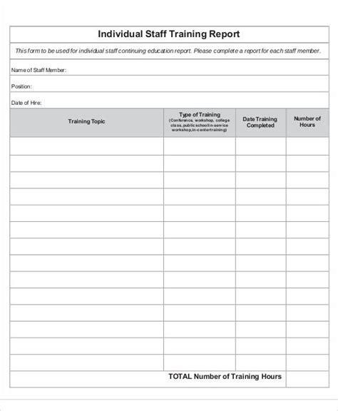 training report templates  sample