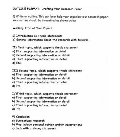 Research Paper Outline Template How To Write A Research Paper Outline And Exles At