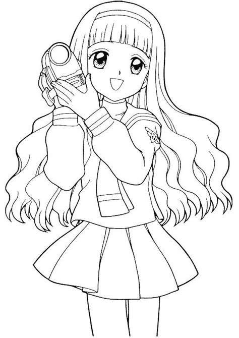 Dessin de deux meilleure amie facile. Coloriage Fille Manga avec La Caméra dessin gratuit à imprimer
