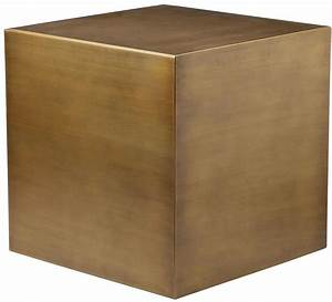 Cube Side Table In Brushed Brass Home And Office Furniture