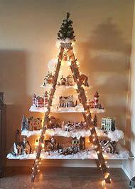beautiful christmas village ladder