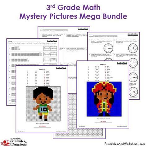 grade math mystery pictures coloring worksheets bundle