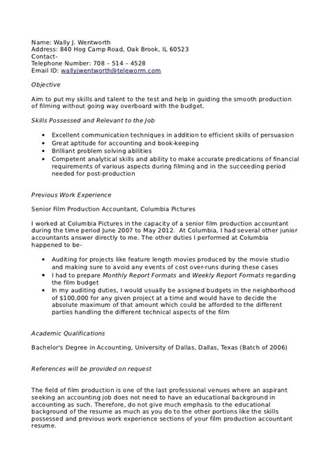 Analytical Skills Accounting Resume by Production Accountant Resume