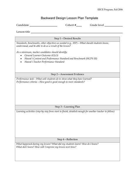backward planning template backward design lesson plan template doc lessons pinterest