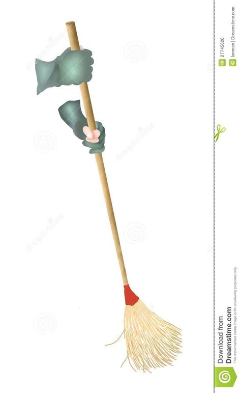 hand holding  broom sweeping  floor stock illustration