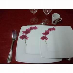 Service De Table 18 Pièces : service de table 18 pcs assiettes carr es victoria et ses tasses en porcelaine decor orchidee ~ Teatrodelosmanantiales.com Idées de Décoration