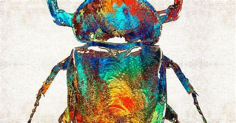 colorful beetle scarab art bug egyptian print