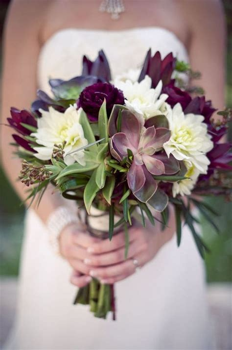 bouquet burgundy succulent bouquets flowers purple bridal flower plum fall rustic cream bride colors succulents dark bridesmaid ivory brides floral