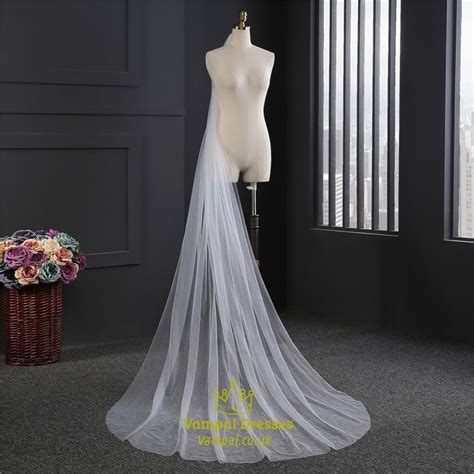 Simple One Tier Chapel Length Drop Wedding Veils Vampal