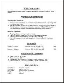 resume format for college lecturer fresher career objective for fresher assistant professor resume