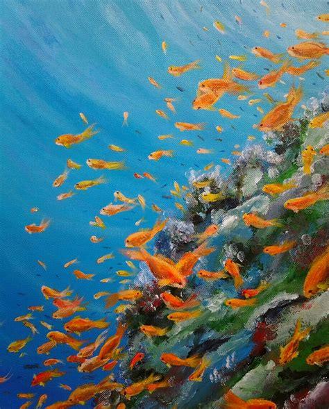 coral reef  underwater scene  paintings  sale