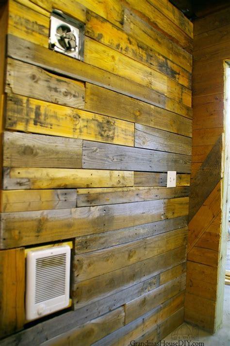 covering walls  pallet wood  basement bathroom renovation