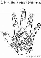 Coloring Henna Pages Colouring Hand Mehndi Printable Pattern Drawing Template Designs Patterns Intheplayroom Tattoo Crafts Hands Templates Mehendi Mosaic Elephant sketch template