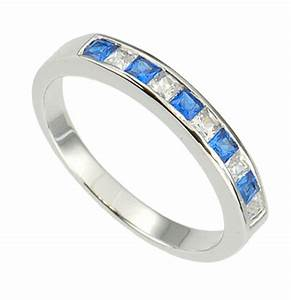 sterling silver princess blue white cz jewelry women With womens wedding ring guards
