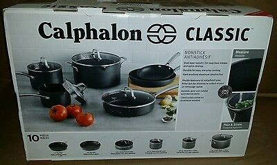 calphalon classic  pc hard anodized nonstick cookware set  display marks  ebay