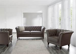 Sofa Grau Leder : barnsley 2er sofa chesterfield couch leder stone grau ~ Pilothousefishingboats.com Haus und Dekorationen
