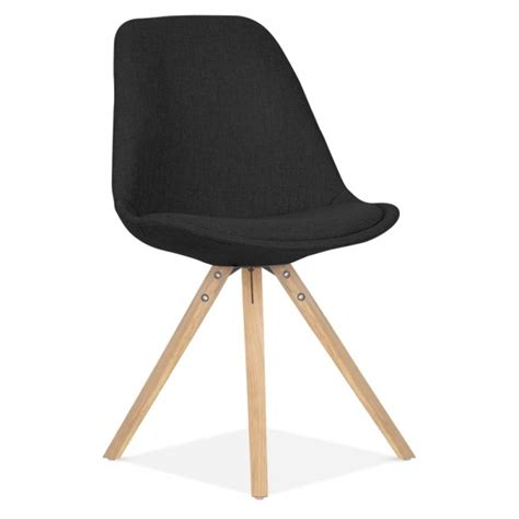 eames inspired pyramid upholstered dining chair in black