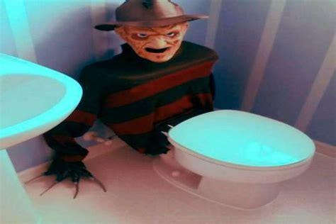 creepy freddy krueger toilet tank cover scares