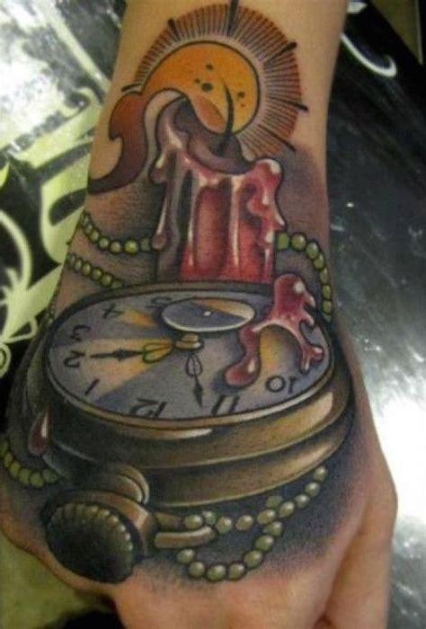3d uhr mit kerze tattoos ideen und taschenuhr