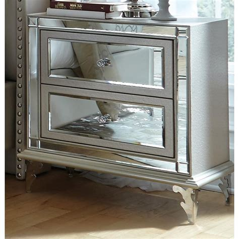 white mirrored nightstand loft pearl white mirrored nightstand