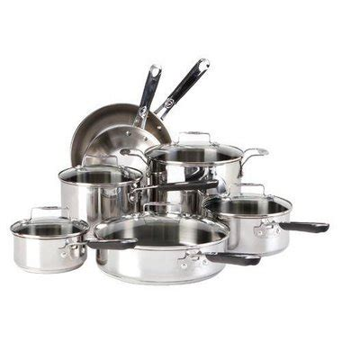 fal esc  piece stainless steel emeril cookware set durable  stainless steel