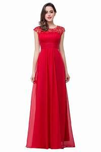Newest Red Chiffon Lace 2017 Prom Dress Zipper Illusion ...