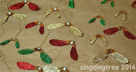 glittery helicopter sycamore seed decorations