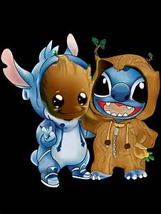 stitch and groot dessins mignons
