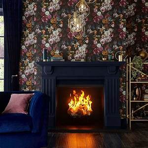 Allure, Black, And, Multicolour, Moody, Floral, Luxury, Wallpaper