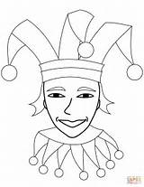 Jester Coloring Face Pages Circus Printable Drawing Cif Supercoloring Categories sketch template