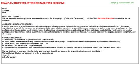 marketing executive offer letters job offer letters