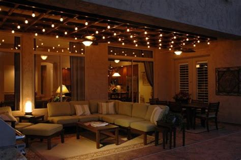 amazing lighting comfortable outdoor living space with