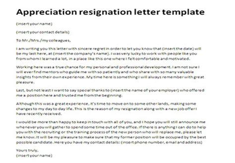 appreciation resignation letter template  letter