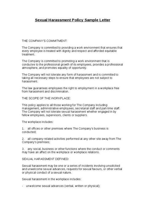 Sexual Harassment Letter Template by Insurance Company Insurance Company Harassment